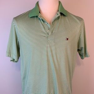 Tommy Hilfiger Golf Polo Shirt Green Striped Mens